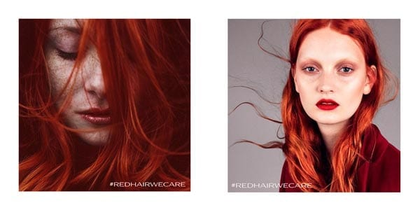 Shades of red hair colour